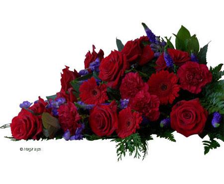 Bårebuket i rødt og blåt