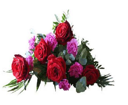 Bårebuket-i-rødt-og-pink